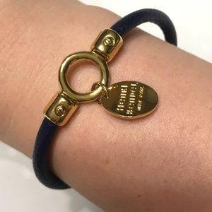 Henri Bendel Leather Bracelet Navy